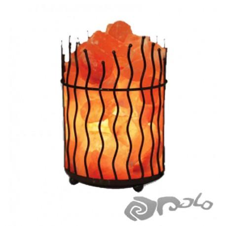 LAMPARA DE SAL CANASTA DE METAL ONDULADO